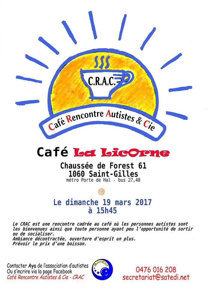 Dans une ambiance conviviale, chaque mois se tient un Café Rencontre Autiste & Cie (CRAC), dans la région de Bruxelles, organisé par l'association Satedi.